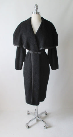 Vintage 50's Don Loper Big Shawl Collar Wool Coat M / L