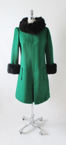 Vintage 60's MOD Green Black Fur Trim Coat Jacket