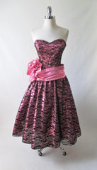 vintage 80's metallic pink black bow lace full skirt 50's style tea party strapless dress bombshell bettys vintage gallery