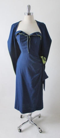Vintage 50's Navy Blue Chartreuse Roses Strapless Sheath Dress & Wrap M