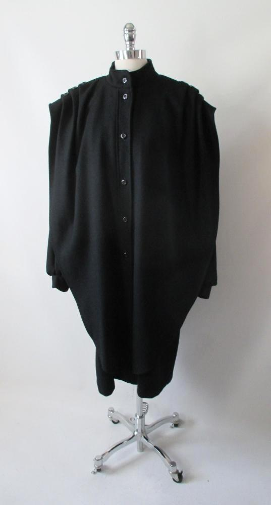vintage 80's black wool cocoon coat jacket bombshell bettys vintage