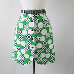 60's MOD Geo Green Blue Mini Skirt Shorts / Skorts & Matching Belt M - Bombshell Bettys Vintage