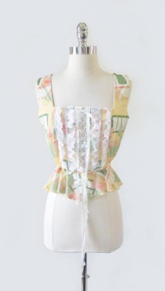 Vintage 70's Novelty Print Ruffled Lace Corset Top M