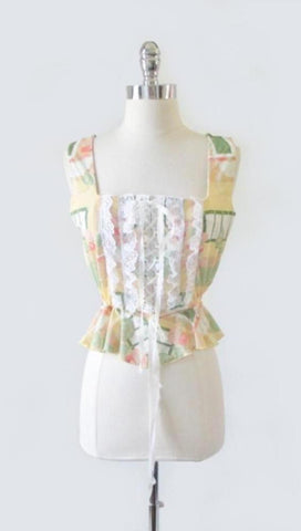 Vintage 70s Novelty Print Ruffled Lace Corset Top M