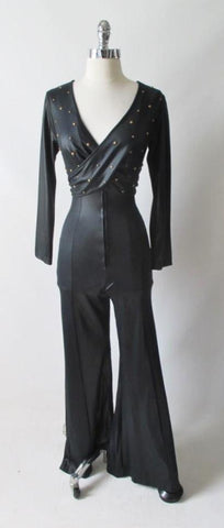 Vintage 70's Fredericks of Hollywood Liquid Satin Studded Jumpsuit Catsuit