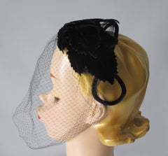 Vintage 50's Black Velvet Crown Cap Netted Veil Hat - Bombshell Bettys Vintage