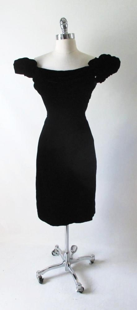 Vintage 50's 60's Cold Shoulder Lilli Diamond Black Velvet Cocktail Dress - Bombshell Bettys Vintage