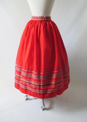 Vintage 50's Red Embroidered Full Swing Skirt S - Bombshell Bettys Vintage