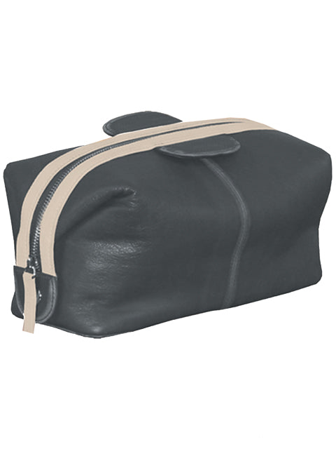 New Scully Onyx Black Sanded Calf Leather Racing Stripe Track Collection Shave Kit - Bombshell Bettys Vintage