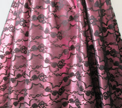 vintage 80's metallic pink black bow lace full skirt 50's style tea party strapless dress bombshell bettys vintage lace