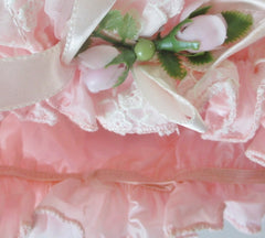 Vintage Pink Chiffon & Lace Bouffant Shower Bathing Cap Hat - Bombshell Bettys Vintage