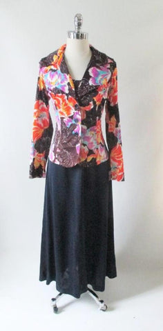 Vintage 70's Floral Maxi Dress & Matching Jacket L