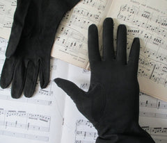 Vintage 40's Black Suede French Gauntlet Gloves - Bombshell Bettys Vintage