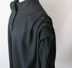 vintage 80's black wool cocoon coat jacket shoulder