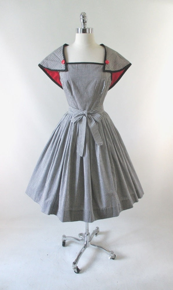 Vintage 50's Black & White Removable Capelet Sundress Dress M - Bombshell Bettys Vintage