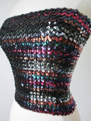 Vintage 70's Jewel Tone Sequins Disco Tube Top - Bombshell Bettys Vintage