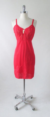 Vintage Red Roses Lace Slip 36 NWT