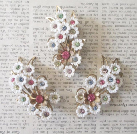 Vintage 50's 60's Emmons Thermoplastic Celluloid White Flower Pastel Rhinestone Brooch Earrings Set