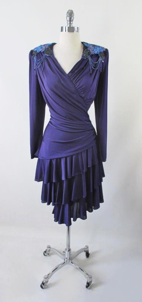 2a7915b7 vintage 70's 80's draped tiered purple jersey sequins disco Xanadu party evening  dress bombshell bettys vintage
