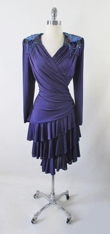 Vintage 70's Purple Jersey Layered Sequins Party Dress L