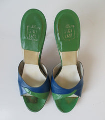 • Vintage 50's 60's Blue & Green Springolator Heels Shoes 8 - Bombshell Bettys Vintage