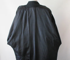 vintage 80's black wool cocoon coat jacket lining
