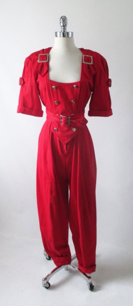 vintage 80's new wave karen alexander button buckle jumsuit gallery