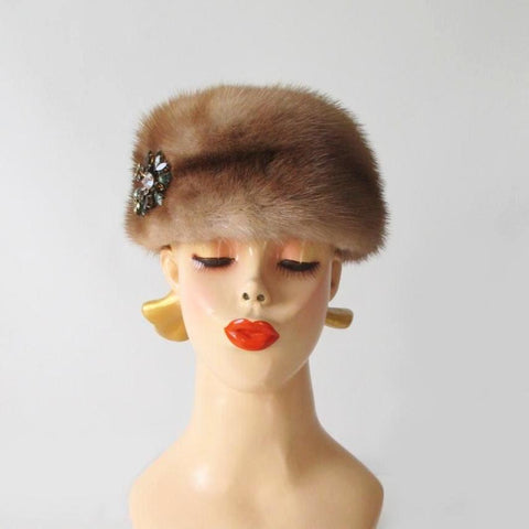 Vintage 50's Honey Blonde Mink Chapeaux Pillbox Hat