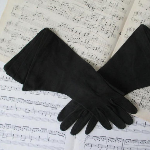 Vintage 40's Black Suede French Gauntlet Gloves