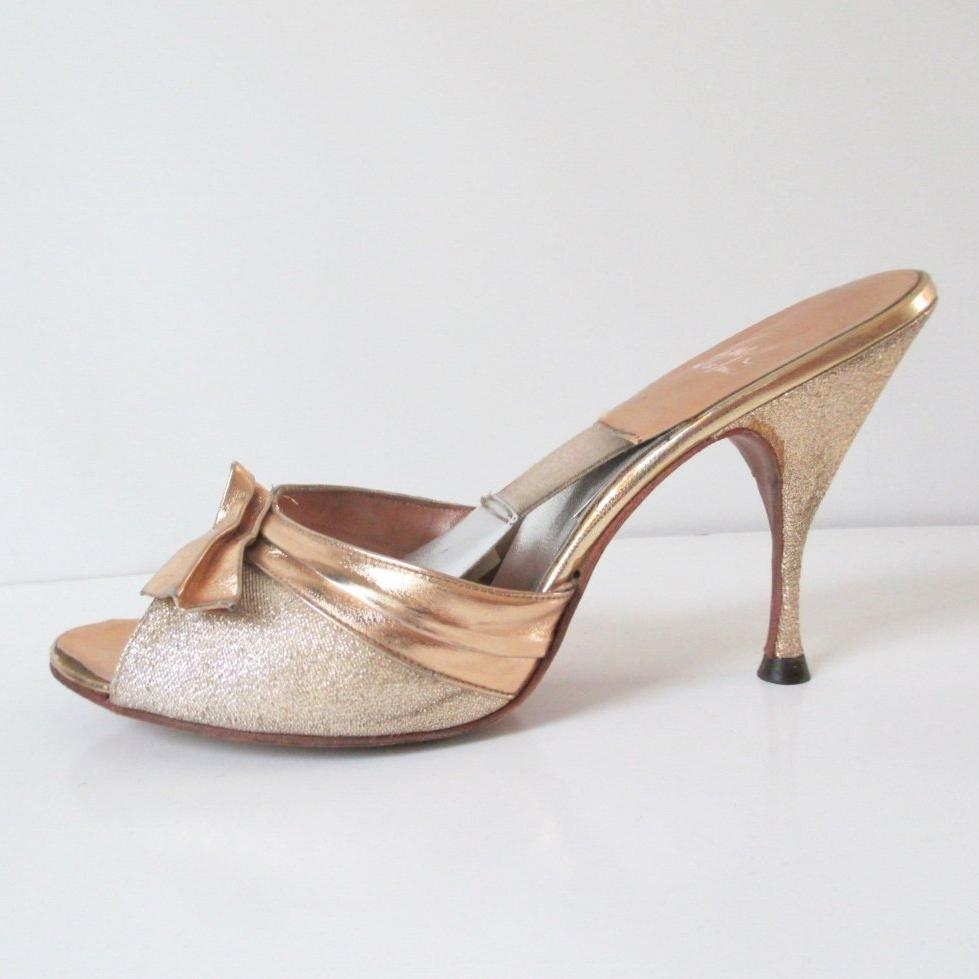 Vintage Gold Lame Chromespun 50's 60's Springolator Heels Shoes 8 - Bombshell Bettys Vintage
