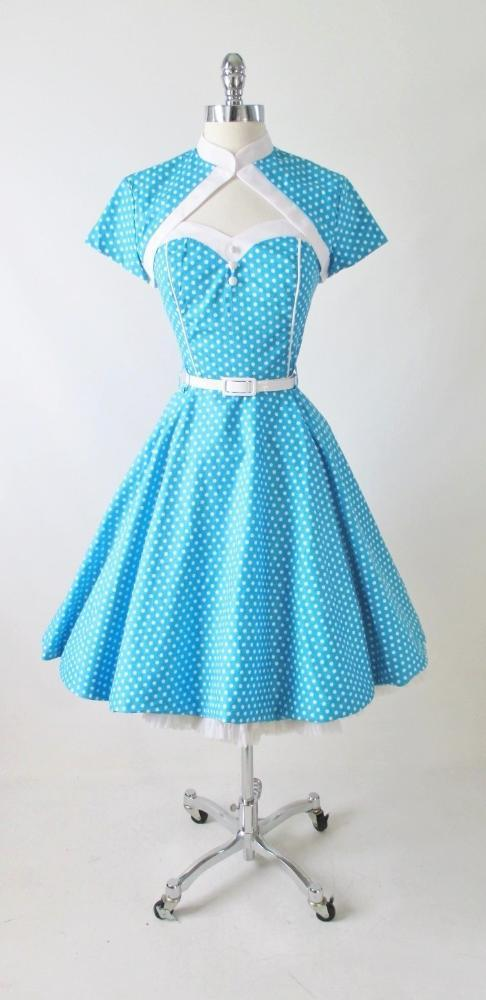 vintage 1950's style full skirt blue strapless polka dot dress Lucy gallery