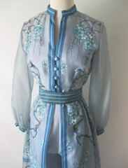 Vintage 60's Alfred Shaheen Sheer 3 Piece Hostess Pants Suit Dress Set - Bombshell Bettys Vintage