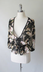 Vintage 70's Romantic Black Sheer Tie Front Floral Top Blouse L / M - Bombshell Bettys Vintage