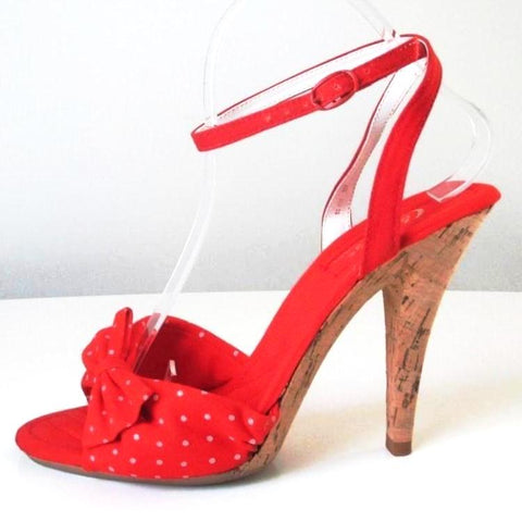 Vintage 70's Polka Dot Bow High Cork Heel Disco Shoes 8 M