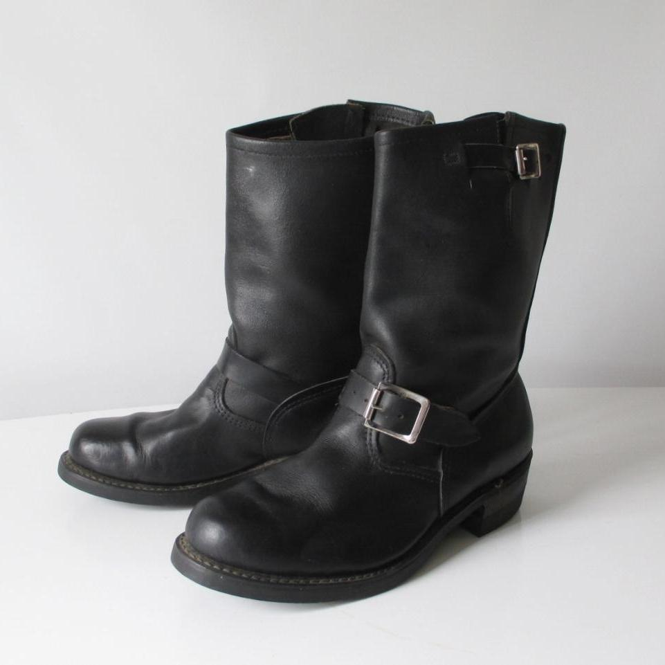 Vintage Engineer Black Leather Boots / Motorcycle 8.5 - Bombshell Bettys Vintage