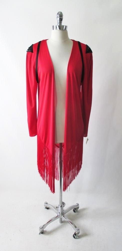 Vintage 80's Long Evening Fringe Jacket Costume S / M - Bombshell Bettys Vintage