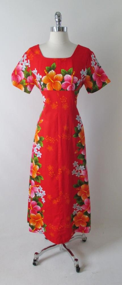 vintage 60's red Hawaiiian maxi flower pink orange tiki luau dress gallery