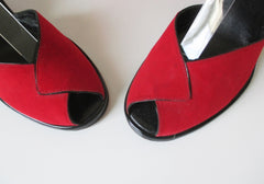 Vintage 50's Red Atomic Wedge Heels & Matching Bucket Bag Purse 6.5 - Bombshell Bettys Vintage