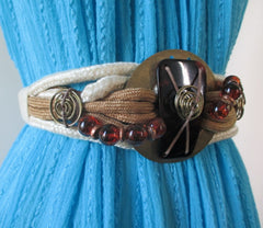 Vintage 80's Abstract Metal & Cord Weaved Belt L - Bombshell Bettys Vintage