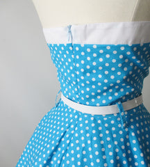 vintage 1950's style full skirt blue strapless polka dot dress Lucy zip