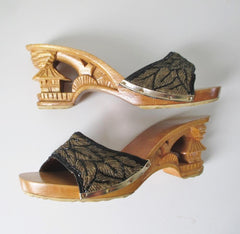 Vintage 40's Style Gold Beaded Souvenir Carved Wood Heels Shoes 9 - Bombshell Bettys Vintage