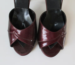 Vintage 70's Red Burgundy Patent Leather Springolator Heels Shoes 8 - Bombshell Bettys Vintage
