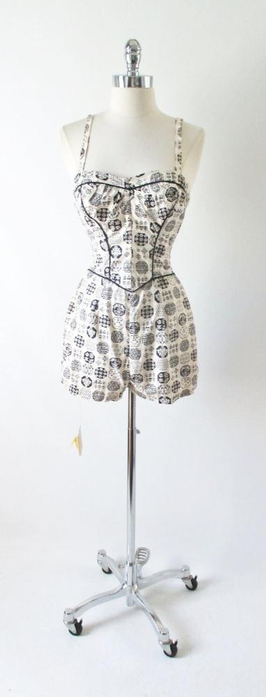 Vintage 50's Koret of California Swimsuit Baithing Suit Playsuit Romper XS S - Bombshell Bettys Vintage