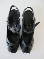Vintage 40's Navy Blue Peep Toe Casual Day Heels Shoes 8.5 W - Bombshell Bettys Vintage