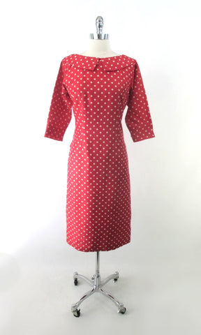 Vintage 50s Red Polka Dot Blouson Back Sheath Dress M