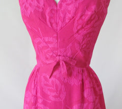 Vintage 50's 60's Pink Floral Matelassé Sheath Party Dress S - Bombshell Bettys Vintage