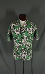 Vintage Green RJC Cotton Bark Cloth Classic Hibiscus Print Hawaiian Shirt - XL Gallery