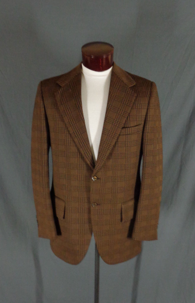 Vintage Action Tailored By Rough Rider Brown Polyblend Checkered Blazer - 44 - Bombshell Bettys Vintage