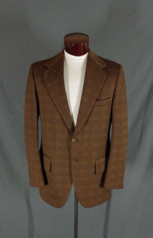 Vintage Action Tailored By Rough Rider Brown Polyblend Checkered Blazer - 44