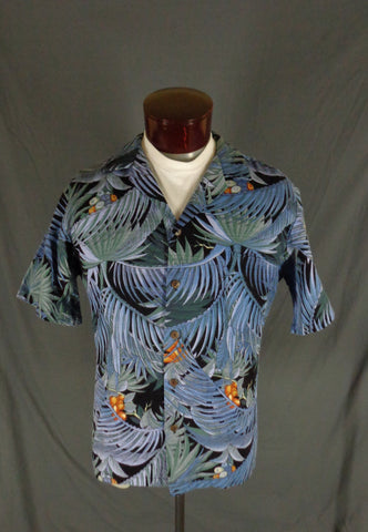 Hilo Hattie Men's Blue Exotic Palm Hawaiian Aloha Shirt L